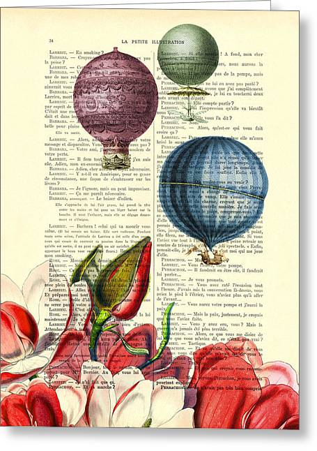 Hot Air Balloons Above Flower Field Greeting Card