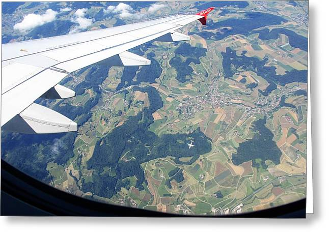 Air Berlin Over Switzerland Greeting Card