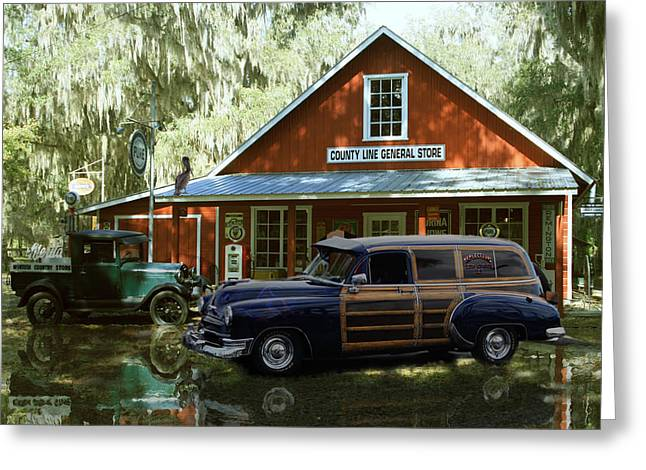 Air Brushed Woody At Country Store Greeting Card by John Breen