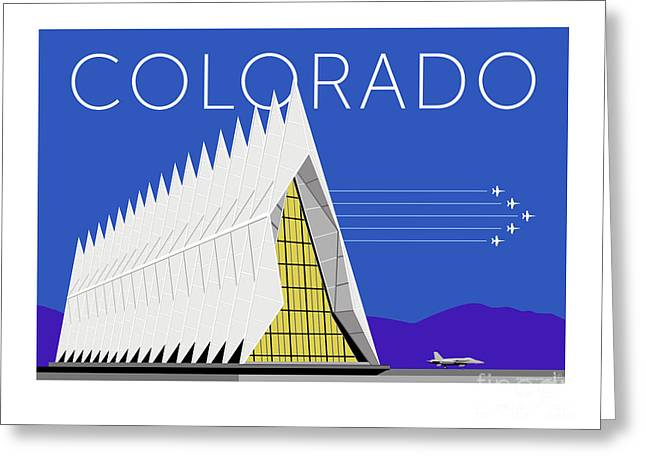 Greeting Card featuring the digital art Air Force Academy Blue by Sam Brennan