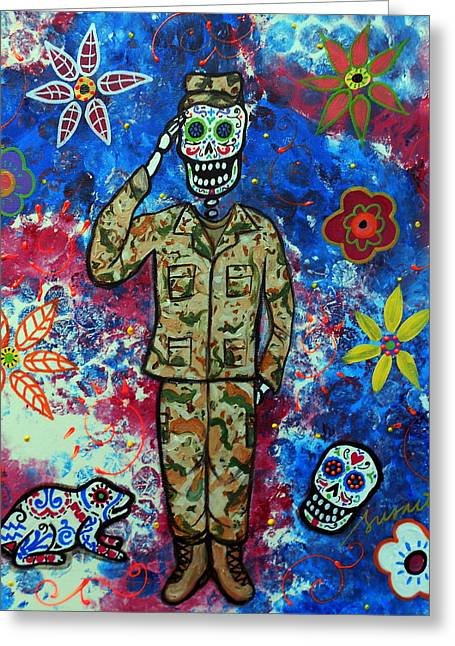 Airforce Paintings Greeting Cards - Air Force Day Of The Dead Greeting Card by Pristine Cartera Turkus