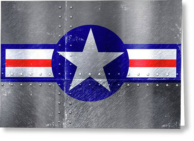Air Force Logo On Riveted Steel Plane Fuselage Greeting Card by Design Turnpike