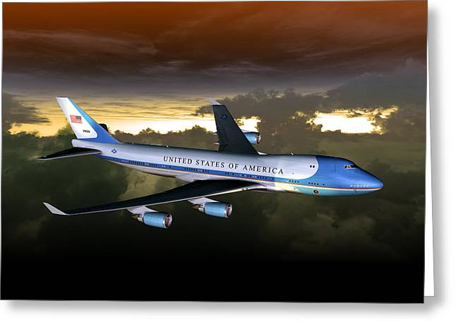 Greeting Card featuring the digital art Air Force One 28.8x18 by Mike Ray