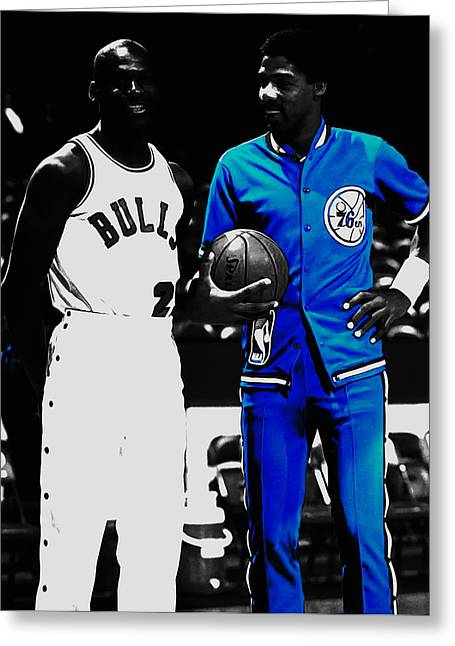 Air Jordan And Julius Erving Greeting Card by Brian Reaves