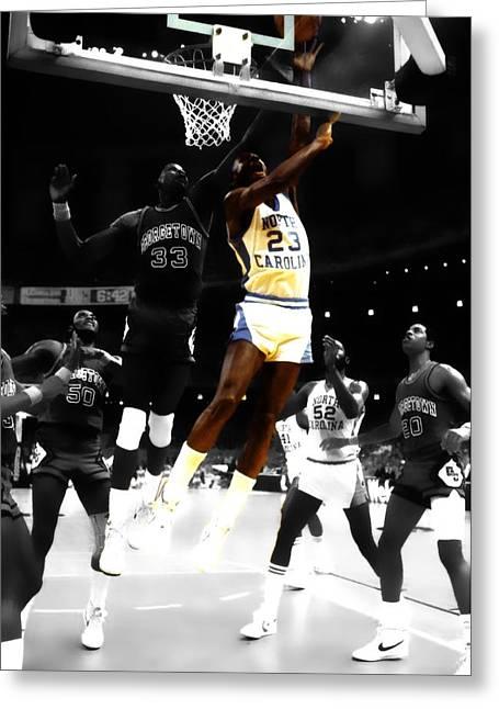 Air Jordan On Patrick Ewing Greeting Card