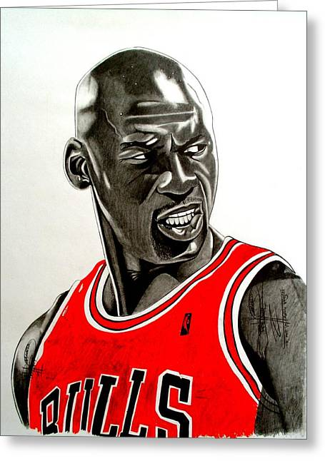Chicago Bulls Art Drawings Greeting Cards - Air Jordan Raging Bull Drawing Greeting Card by Keeyonardo