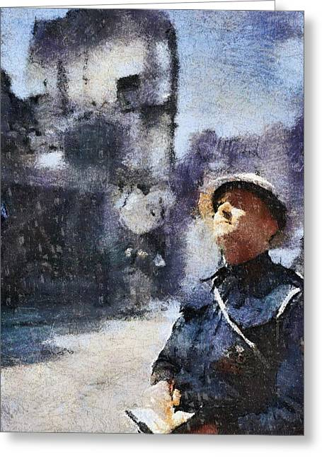 Air Raid Warden Greeting Card by Esoterica Art Agency