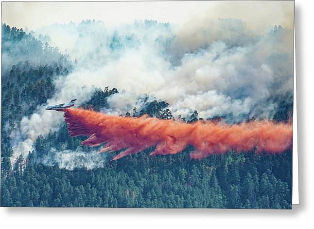 Air Tanker On Crow Peak Fire Greeting Card