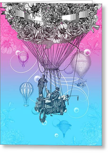 Air Travellers Greeting Card by Denys Golemenkov
