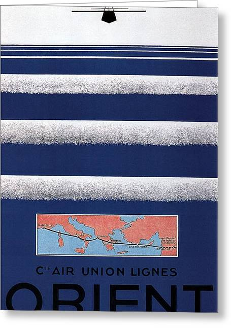 Air Union Lines To The Orient - Vintage Airline Poster - Minimalist Greeting Card