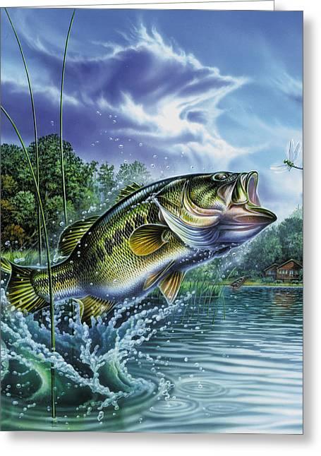 Airborne Bass Greeting Card by Jon Q Wright