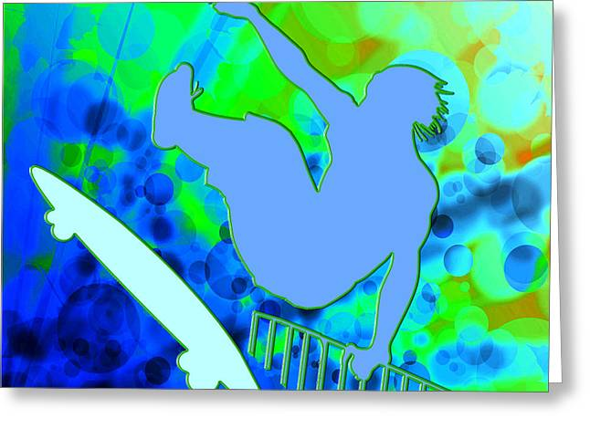 Airborne Skateboarder In Blue And Green Bokkeh  Greeting Card by Elaine Plesser
