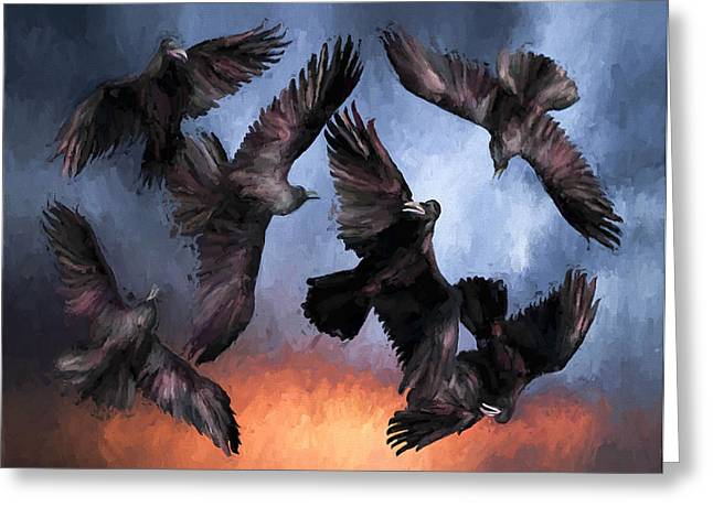 Dark Skies Greeting Cards - Airborne Unkindness Greeting Card by David Wagner