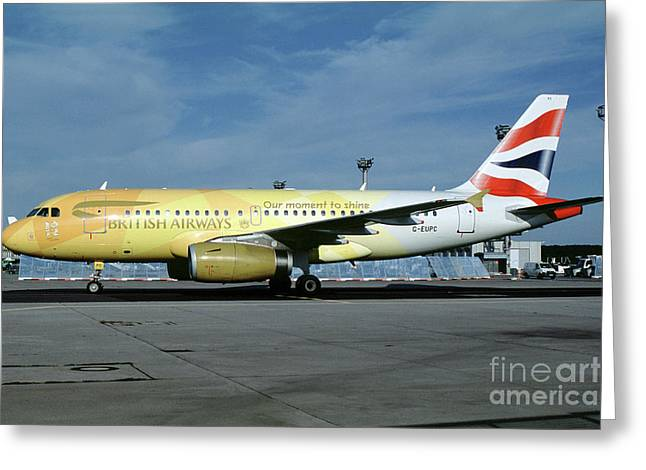 Airbus A319-131, British Airways, G-eupc, Olympic Torch Relay, O Greeting Card