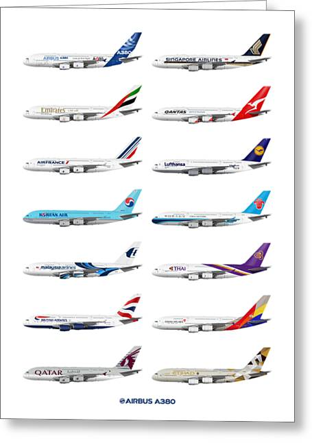 Airbus A380 Operators Illustration Greeting Card by Steve H Clark Photography