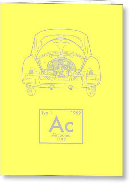 Aircooled Element - Beetle Greeting Card by Ed Jackson
