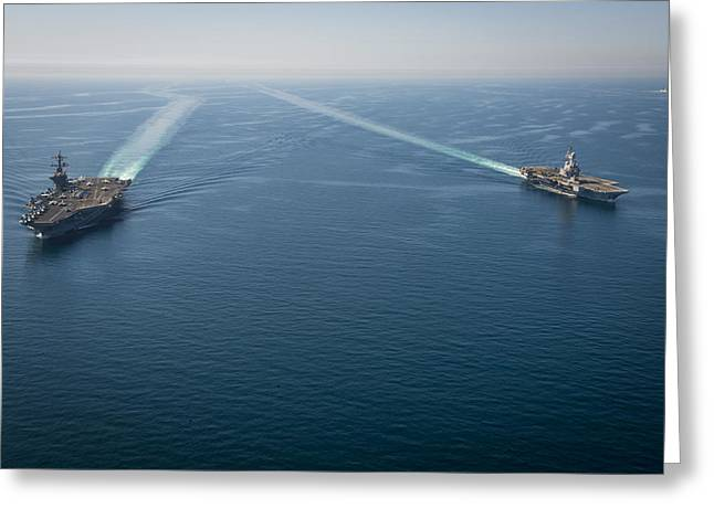 aircraft carrier USS Carl Vinson Greeting Card by Celestial Images