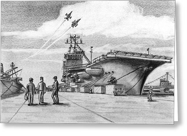 Aircraft Carrier Greeting Card by Vic Delnore