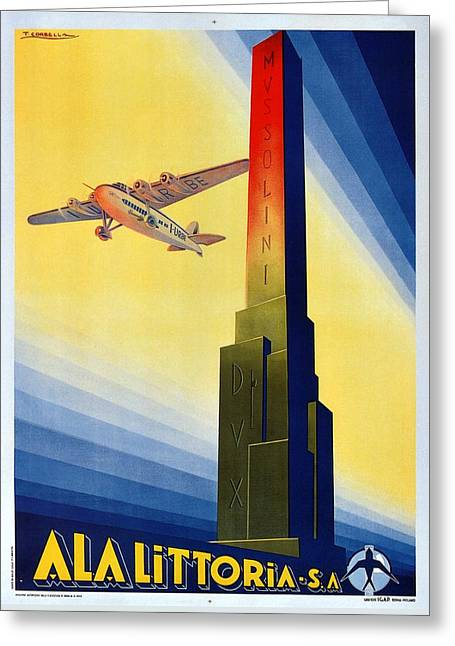 Aircraft Flying Over The Mussolini Dux Obelisk - Ala Littoria - Vintage Travel Poster Greeting Card