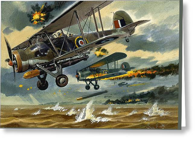 Aircraft Under Fire Greeting Card by Wilf Hardy