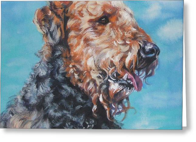Airedale Terrier Greeting Card by Lee Ann Shepard