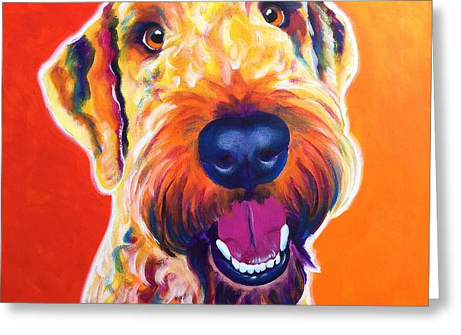 Airedoodle - Hank Greeting Card by Alicia VanNoy Call