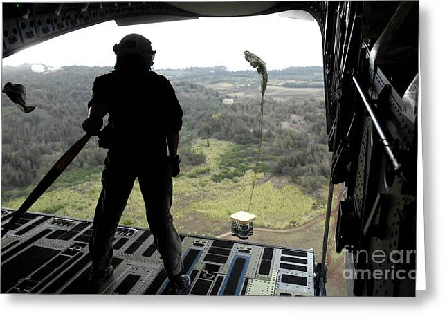 Freight Aircraft Greeting Cards - Airman Watches A Practice Bundle Fall Greeting Card by Stocktrek Images