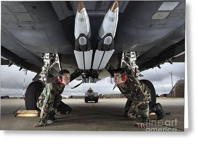 Airmen Check The Gbu-39 Small Diameter Greeting Card by Stocktrek Images
