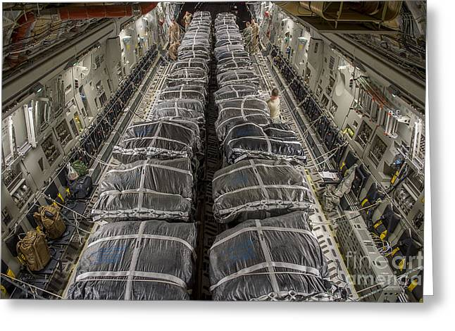 Airmen Prepare Pallets On A C-17 Greeting Card