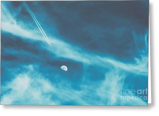 Airplane Flying To The Moon Concept On Blue Sky With Clouds Greeting Card