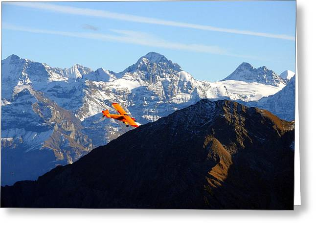 Airplane In Front Of The Alps Greeting Card