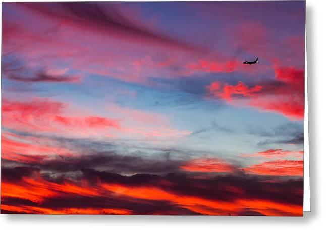 Airplane In The Sunset Greeting Card by April Reppucci