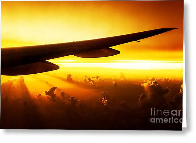 Airplane On Sunset Greeting Card