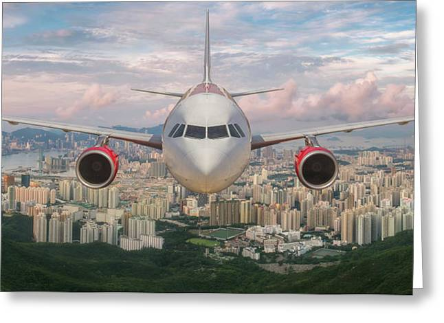 Airplane Over Hongkong Island Greeting Card by Anek Suwannaphoom