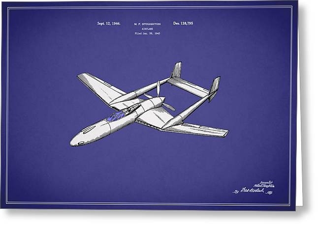 Airplane Patent 1944 Greeting Card by Mark Rogan