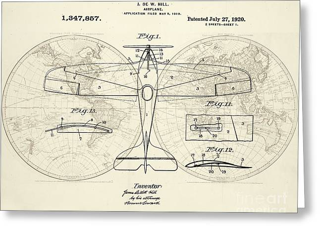 Airplane Patent Collage Greeting Card by Delphimages Photo Creations