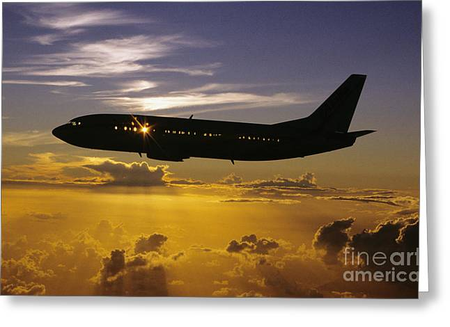 Airplane Sunset Greeting Card by David Cornwell/First Light Pictures, Inc - Printscapes