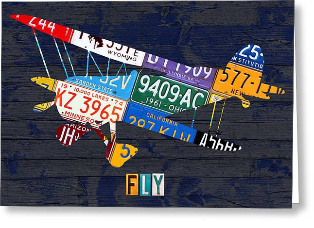 Airplane Vintage Biplane Silhouette Shape Recycled License Plate Art On Blue Barn Wood Greeting Card by Design Turnpike