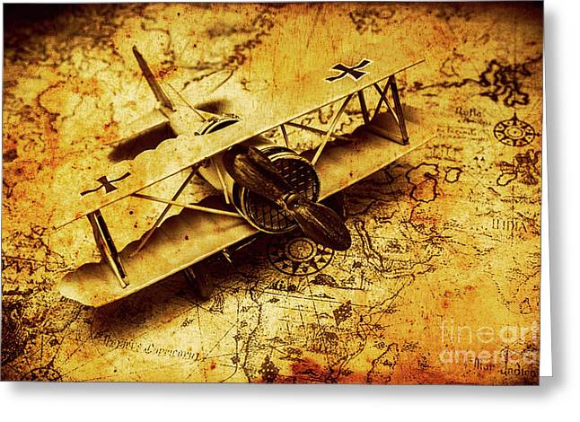 Airplane War Bomber Miniature On Vintage Map Greeting Card by Jorgo Photography - Wall Art Gallery
