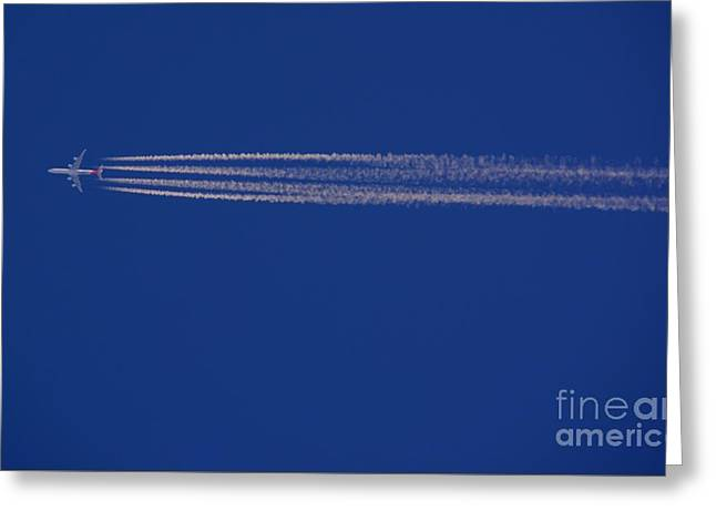 Airplane With Chemtrails Greeting Card