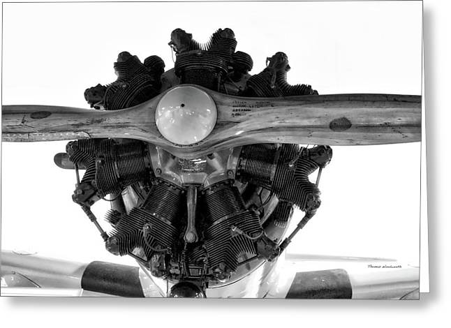 Airplane Wooden Propeller And Engine Timm N2t-1 Tutor Bw Greeting Card