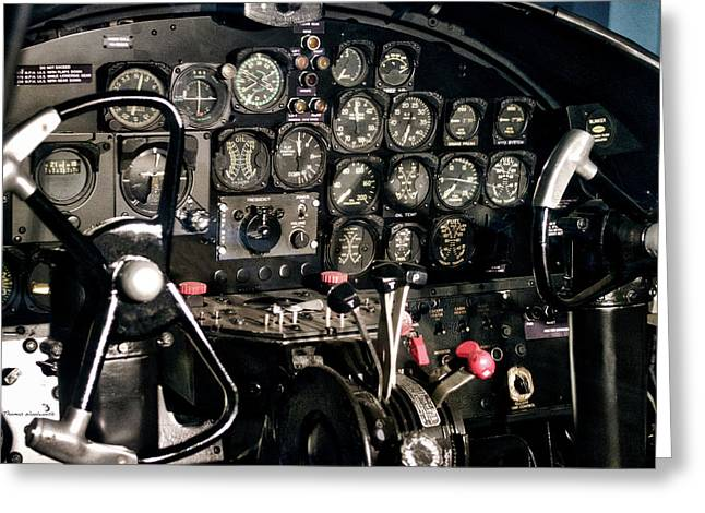 Airplanes Military B25 Bomber Instrument Panel Greeting Card