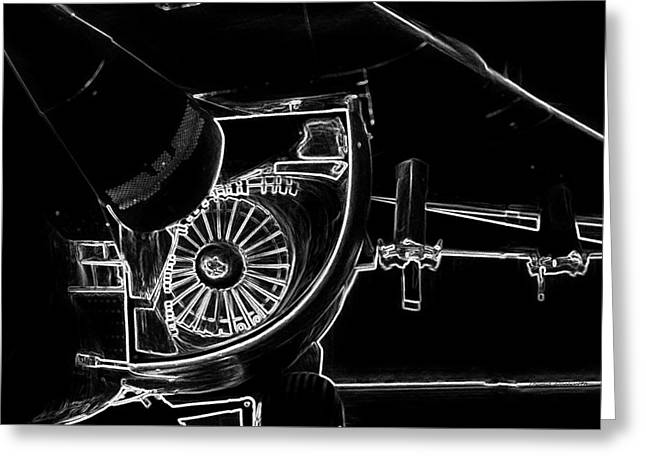 Airplanes Military F111a Aardvark Jet Engine Intake Bw Greeting Card