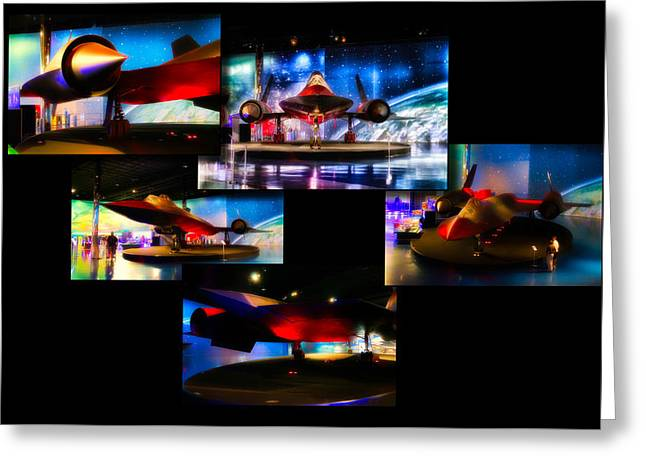 Airplanes Military Jet Sr 71 Pa Horizontal Collage Greeting Card by Thomas Woolworth