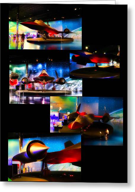 Airplanes Military Jet Sr 71 Pa Vertical Collage Greeting Card by Thomas Woolworth
