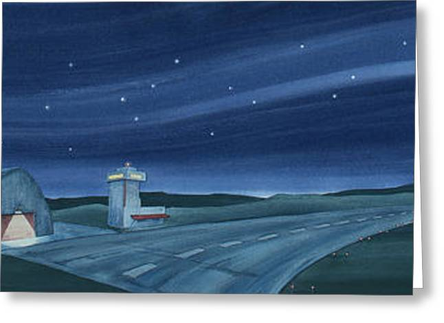 Greeting Card featuring the painting Airport Cafe Vi by Scott Kirby