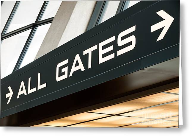 Airport Gates Sign Greeting Card by Paul Velgos