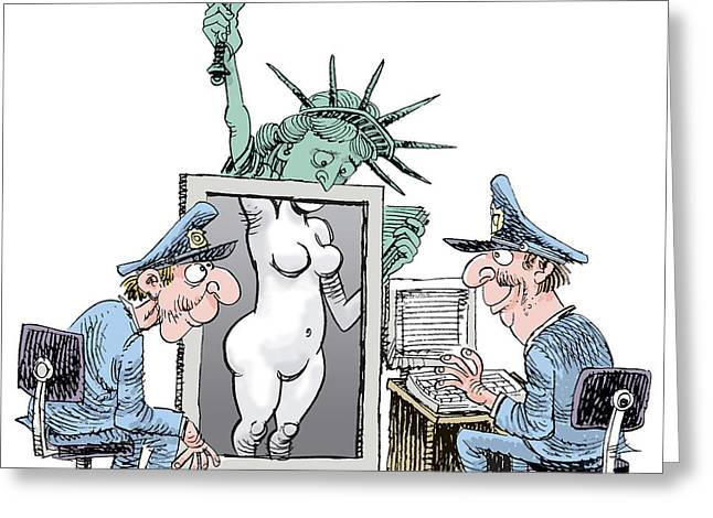 Airport Security And Liberty Greeting Card