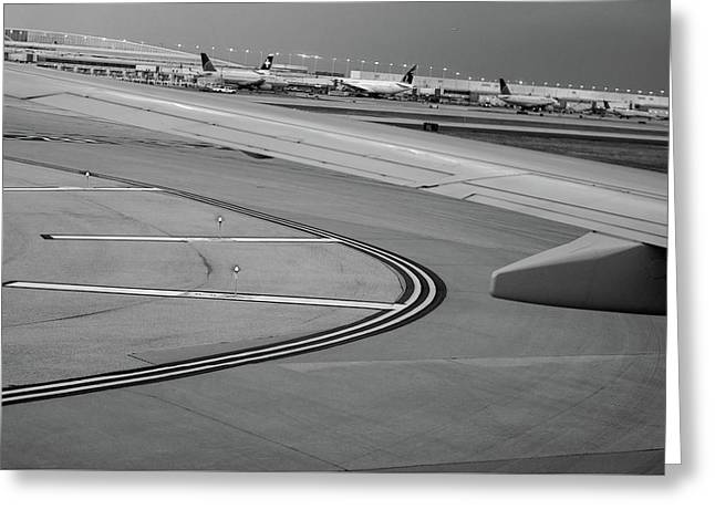 Airport Taxiway B W Greeting Card