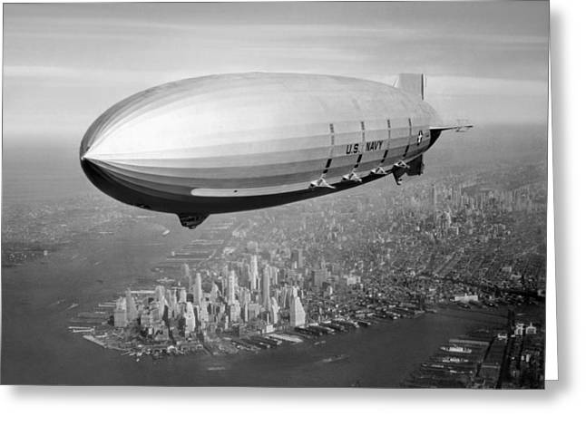 Airship Flying Over New York City Greeting Card by War Is Hell Store